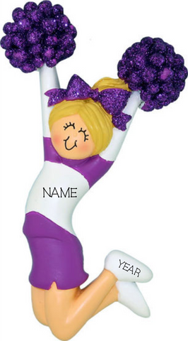 Cheerleader (new) with Blonde Hair and Purple Uniform- Personalized Ornament