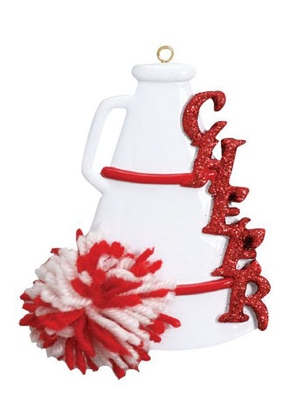Cheer, Megaphone, Red- Personalized Ornament