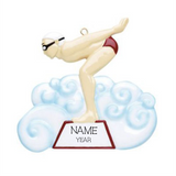 Swimmer/Diver-, Male Personalized Christmas Ornament