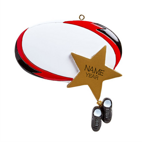 Rugby with star - Personalized Christmas Ornament