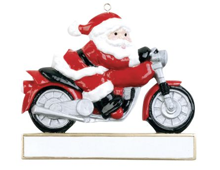 Santa on motorcycle- Personalized Christmas Ornament
