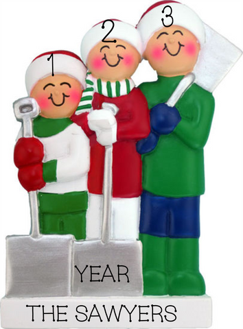 Shoveling snow- Family of 3 Personalized Ornament