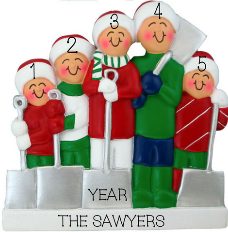 Shoveling snow- Family of 5 Personalized Ornament