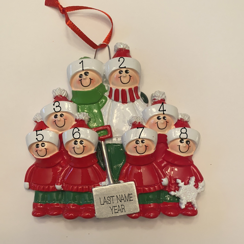 Family with Shovel, family of 8 personalized ornament