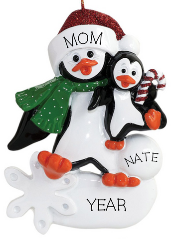 Single Parent Penguin, with one child- Personalized Ornament