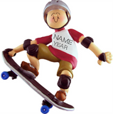 Skateboarder Boy- Personalized Christmas Ornament
