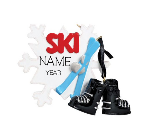 Ski snowflake- Personalized Christmas Ornament