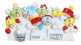 Snowball Fight- Family of 9 personalized ornament