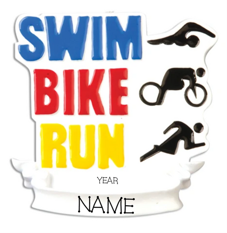 Fitness/Triatholon-Swim, Bike, Run- Personalized Christmas Ornament