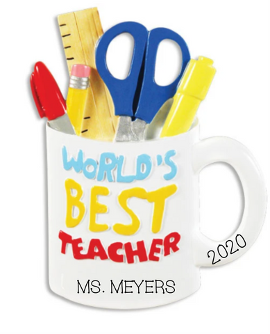 World's Best Teacher- Personalized Ornament