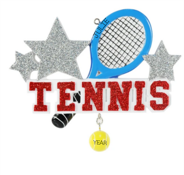 Tennis racquet and ball- Personalized Christmas Ornament