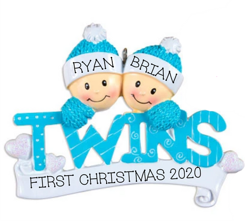 Twin Boys Christmas Ornament