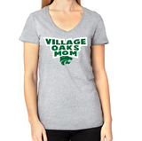 Village Oaks Mom, Women's poly/cotton v-neck t-shirt
