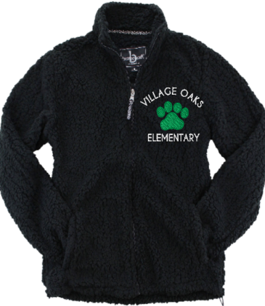Village Oaks, Full Zip Sherpa Fleece, Black