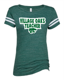Village Oaks Teacher, Green and white stripe t-shirt