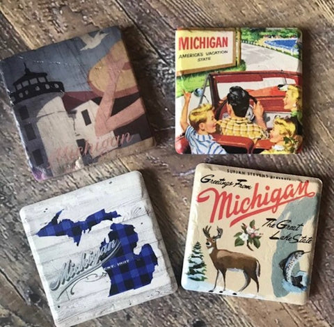 Vintage Michigan Coaster  Set