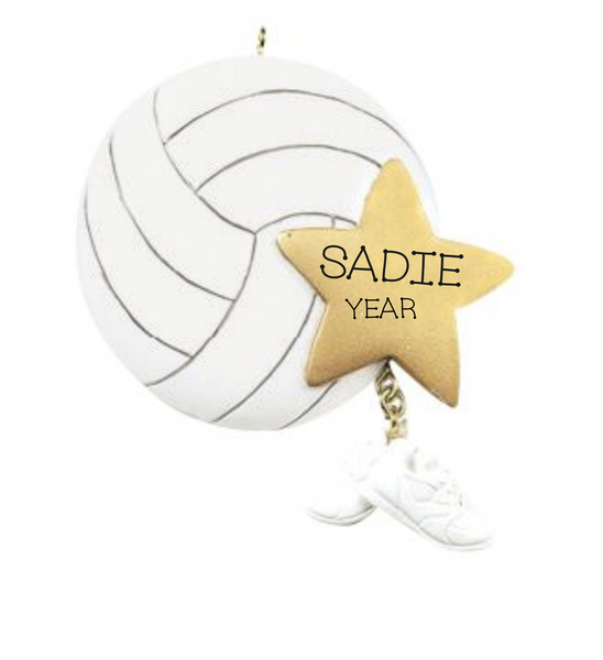 Volleyball with star - Personalized Christmas Ornament