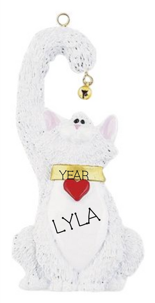 White Cat with bell- Personalized Ornament