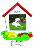 White Dog House Frame Personalized Christmas Ornament