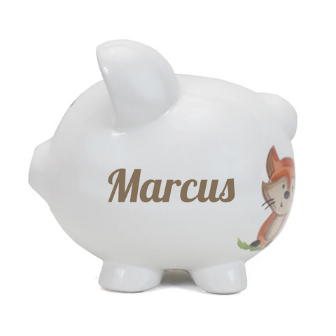 Personalized Woodland Themed Piggy Bank
