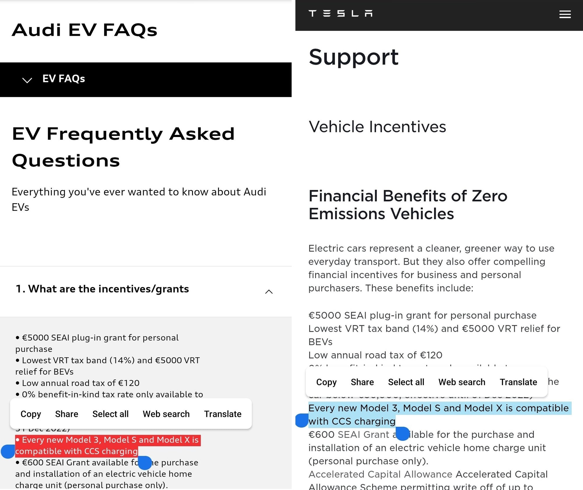 "Audi Simply ""Copy & Paste"" Tesla Website Description"