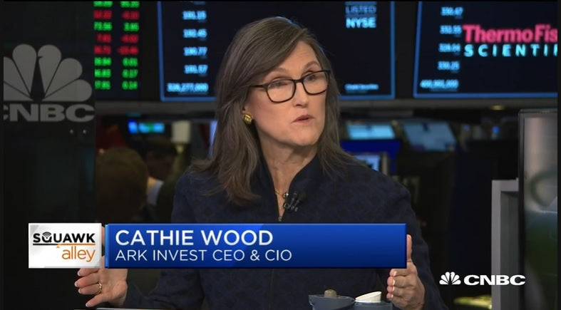 Catherine Wood said she sees Tesla rise to $6,000 in five years