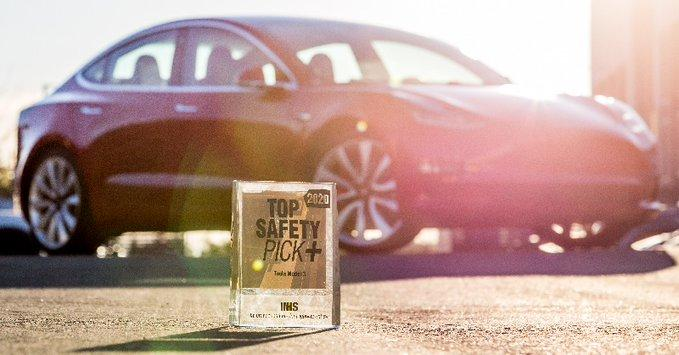 Tesla Model 3 earns the 2020 IIHS Top Safety Pick+ Award