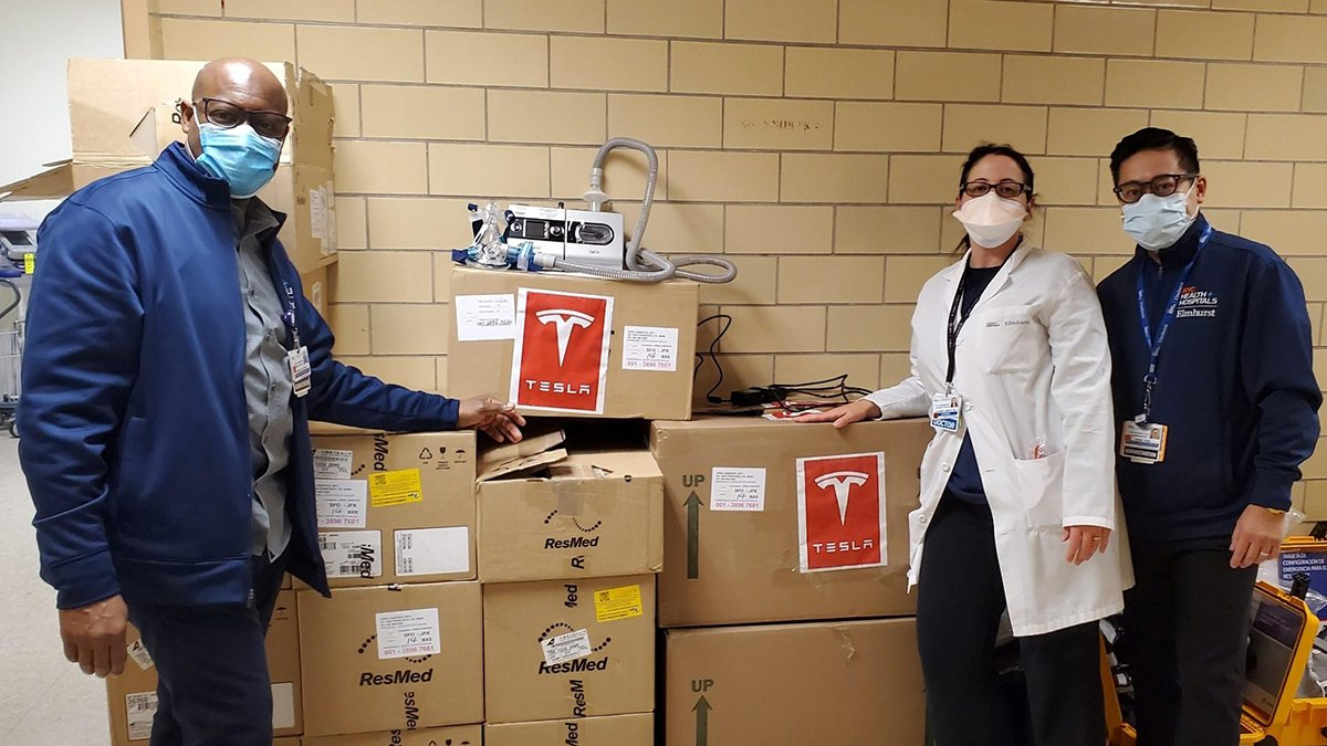 NYC Health + Hospitals/Elmhurst in Queens received 40 ventilators from Tesla