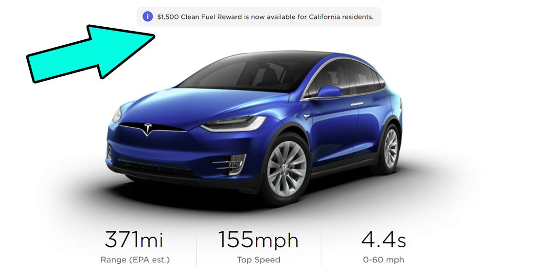Tesla Model S 3 X Y in California Now Eligible for Additional $1,500 'Clean Fuel Reward,' With No Income/Price Limits