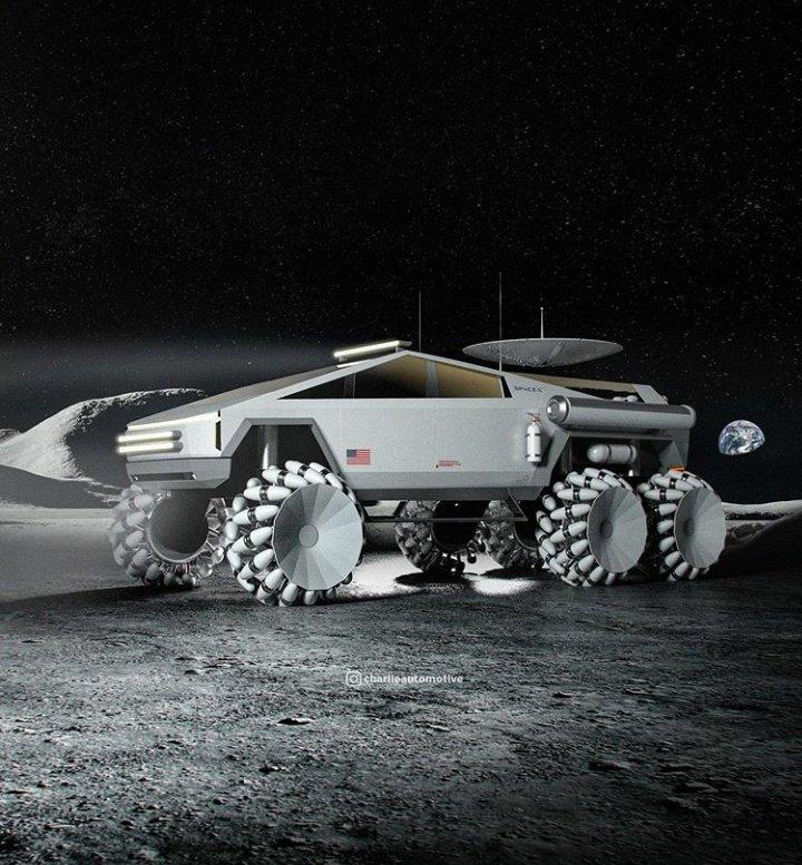 Tesla Cybertruck Fans Made SpaceX NASA Crossover Version Moon Rover