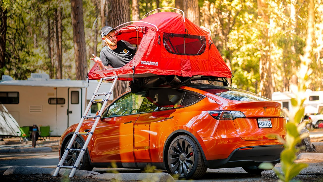 Tesla Model Y Owner Shares How to Camp on Top of New Vehicle