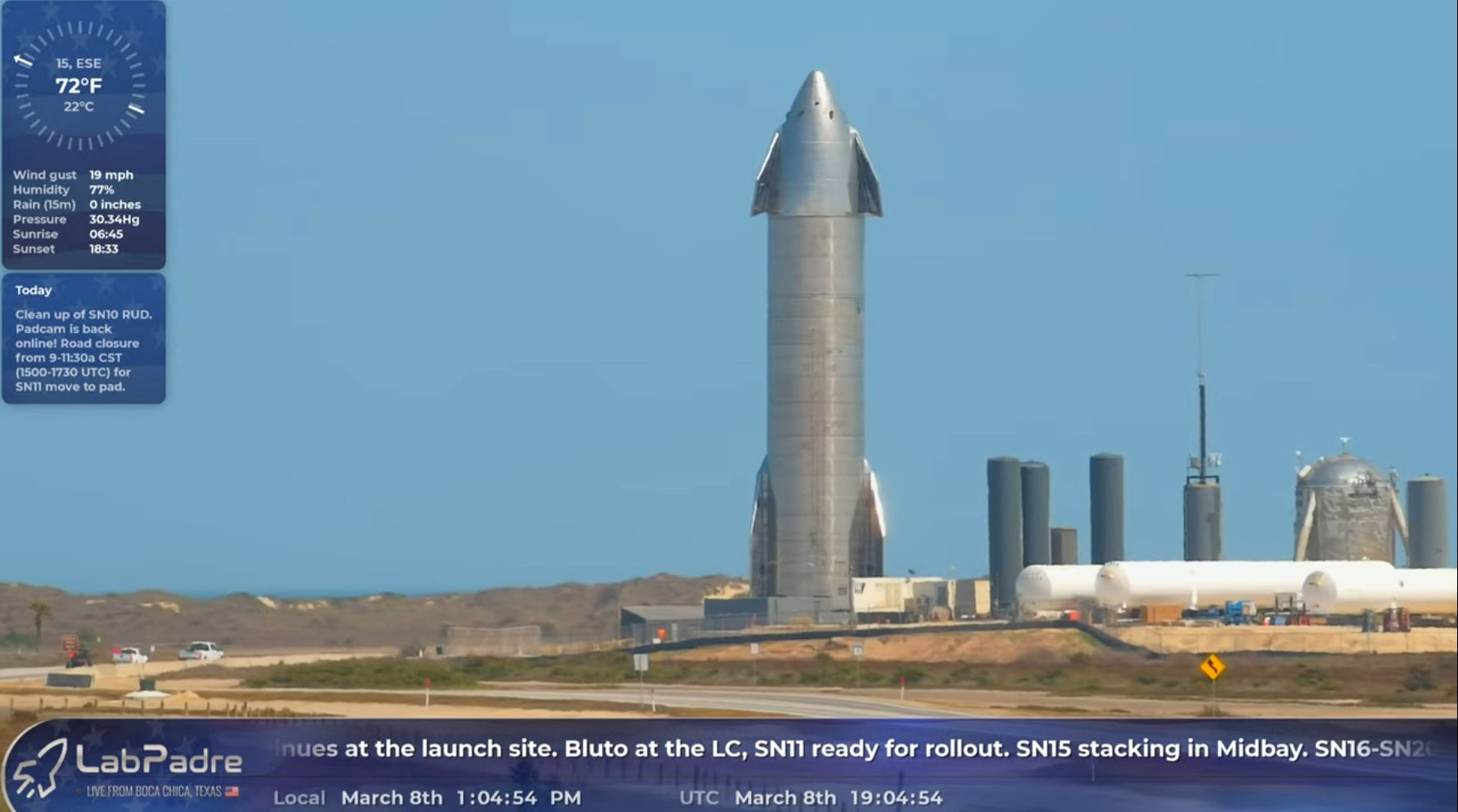 SpaceX Transports Starship SN11 To The Boca Chica Beach Launch Pad
