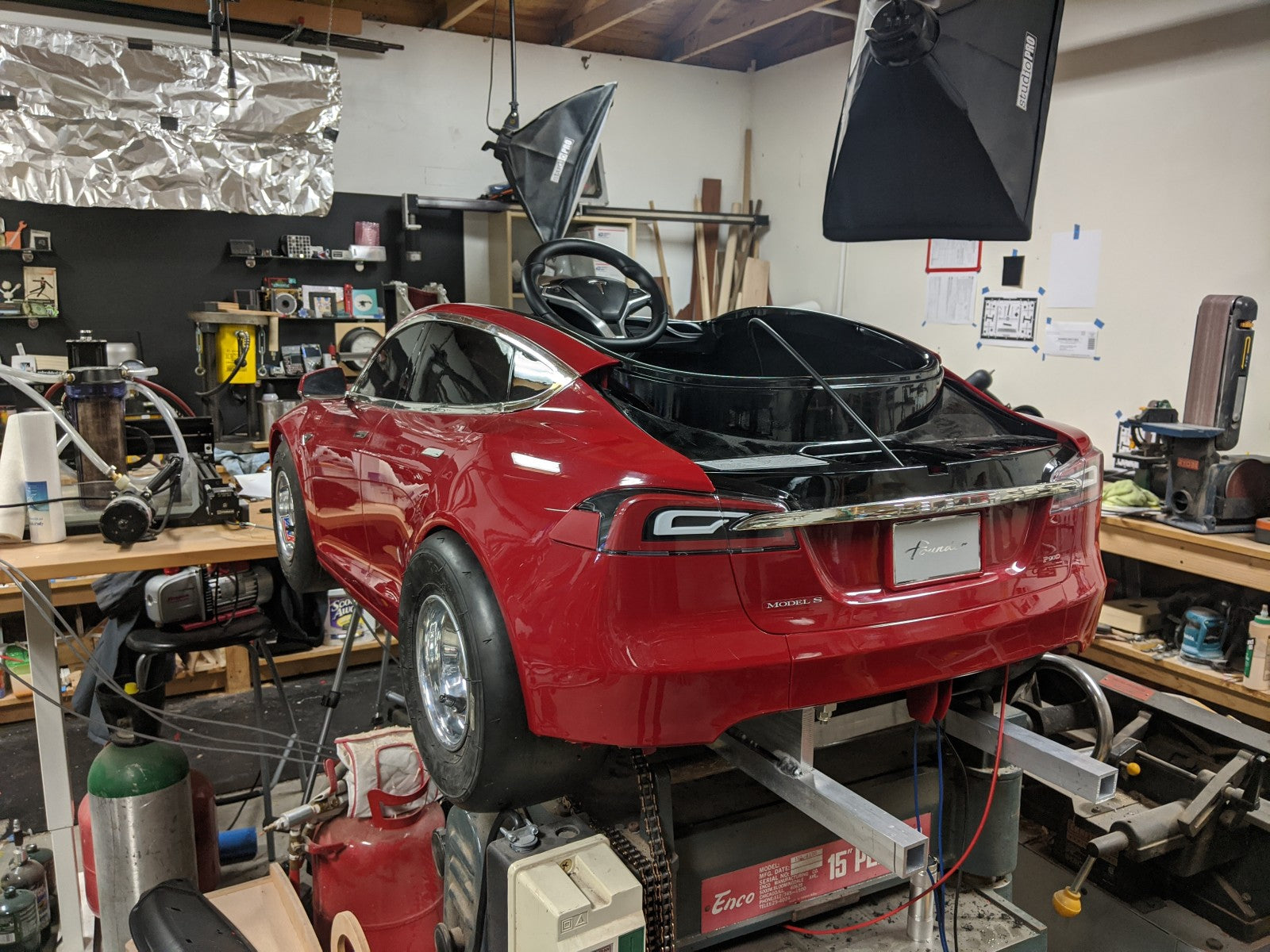 Radio Flyer Toy Tesla Is Being Modified Into A Car With Fast Acceleration