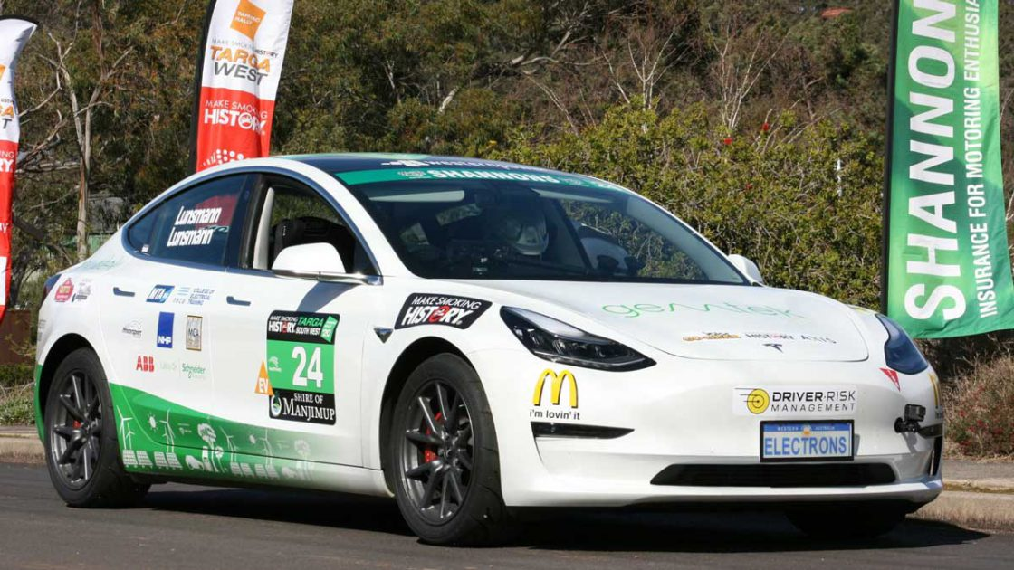 Tesla Model 3 Becomes 1st EV To Win Targa South West Rally Race in Western Australia