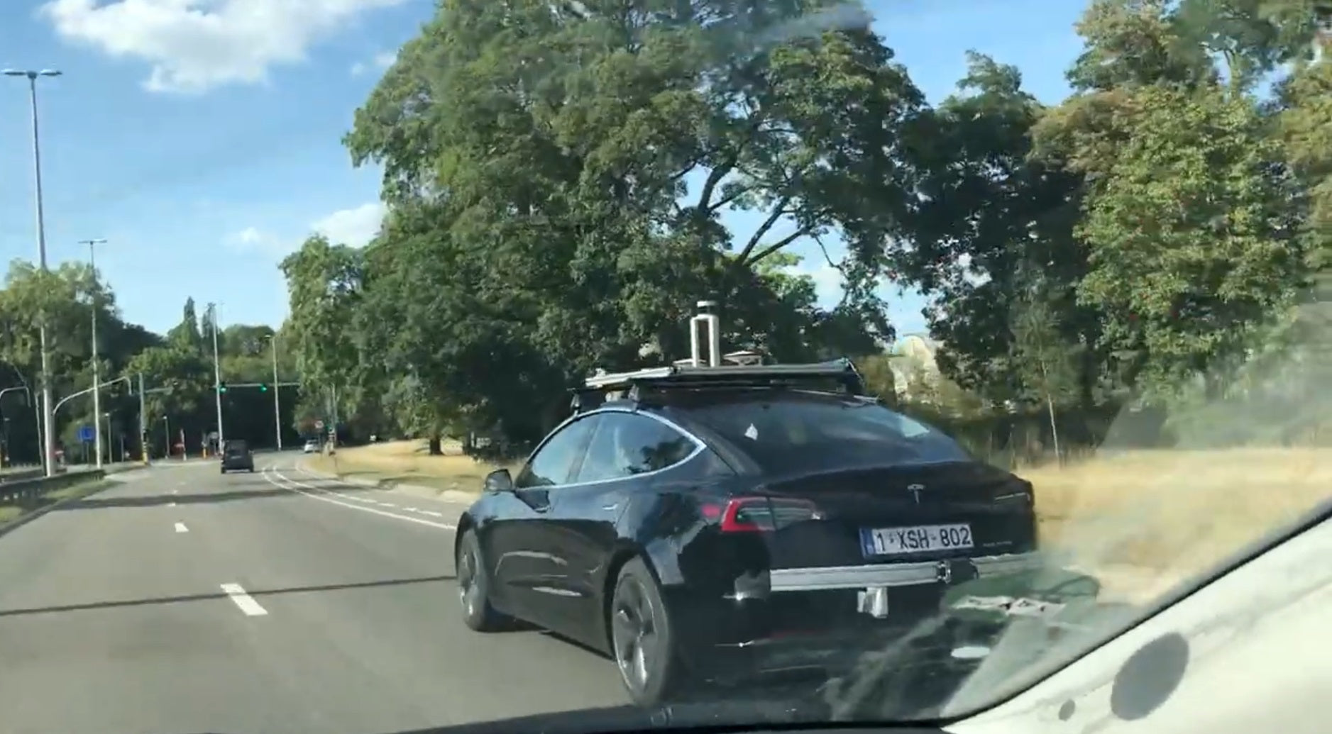 A Tesla Model 3 Spotted with a Possible Lidar System in Belgium