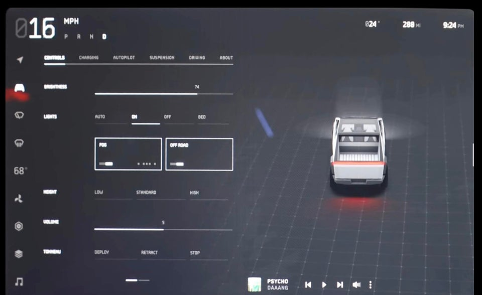 "Tesla CyberTruck UI shows ""OFF ROAD MODE"" is available"