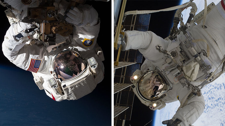 NASA Astronauts at the Space Station complete tasks during a 6-hour Spacewalk