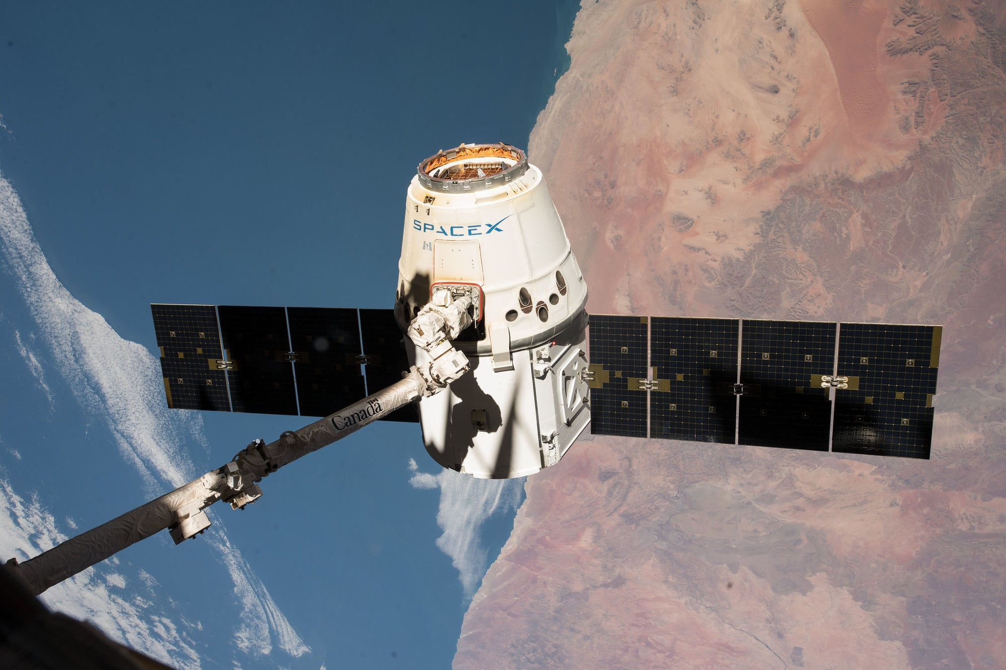 SpaceX Dragon arrived to the International Space Station this morning with over 5,700 pounds of cargo!