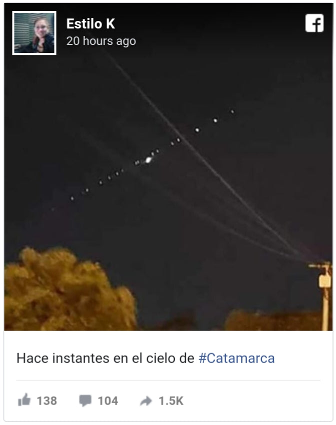 SpaceX Starlink satellites seen over Argentina last night -many thought it was a UFO fleet!