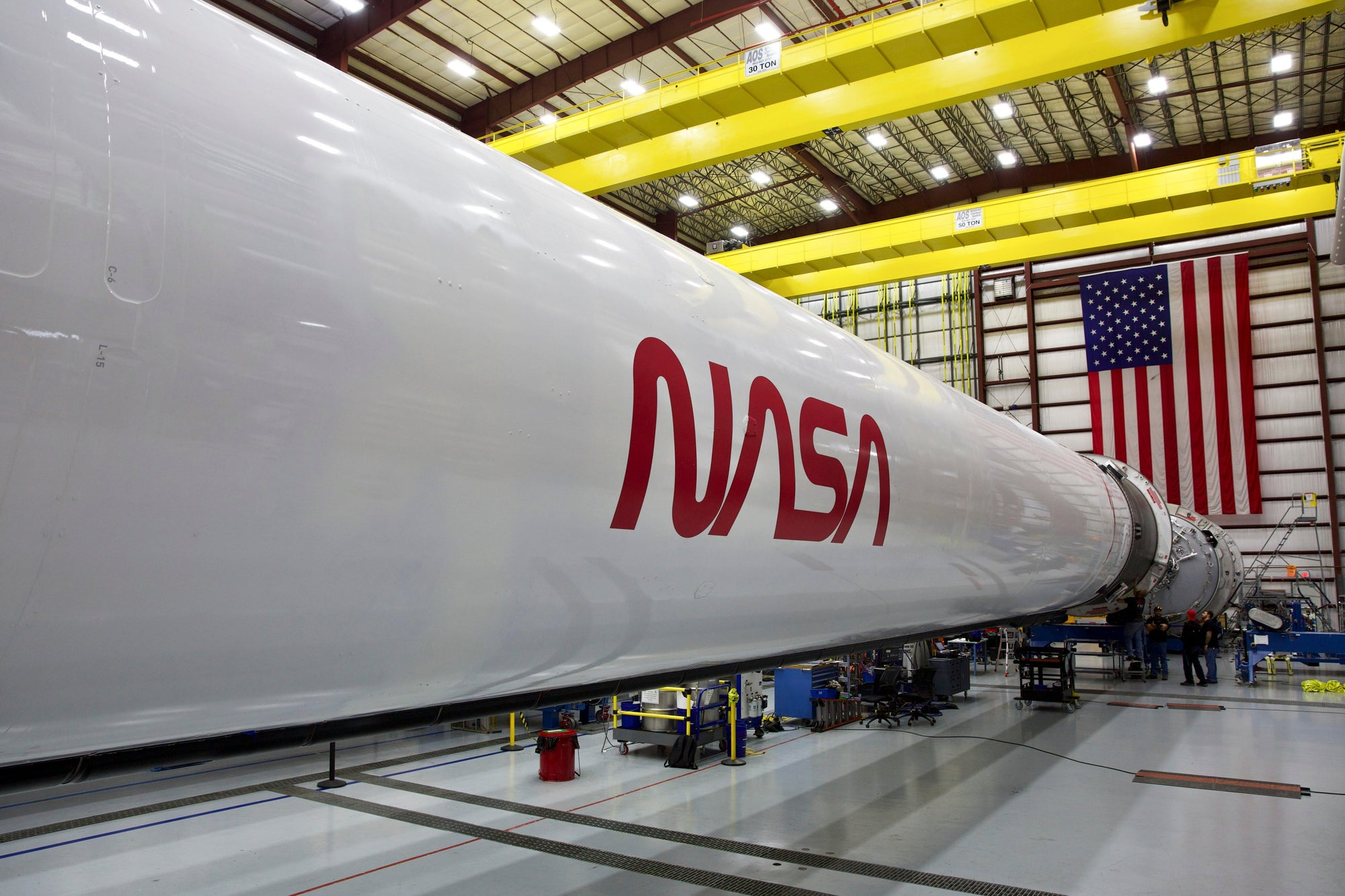 SpaceX adds retro NASA logo to Falcon 9 that will launch Dragon on its first crewed flight