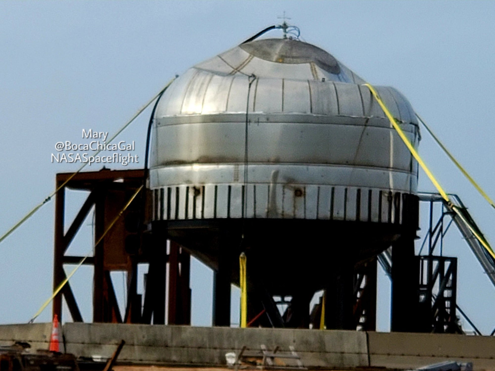 SpaceX conducted a pressure test on a Starship dome tank at Boca Chica today
