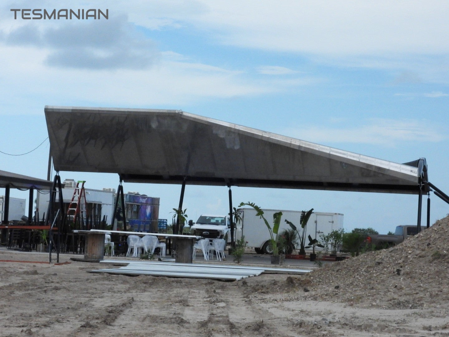 SpaceX 'Stainless-steel' Restaurant under construction as Starship SN5's test flight approaches