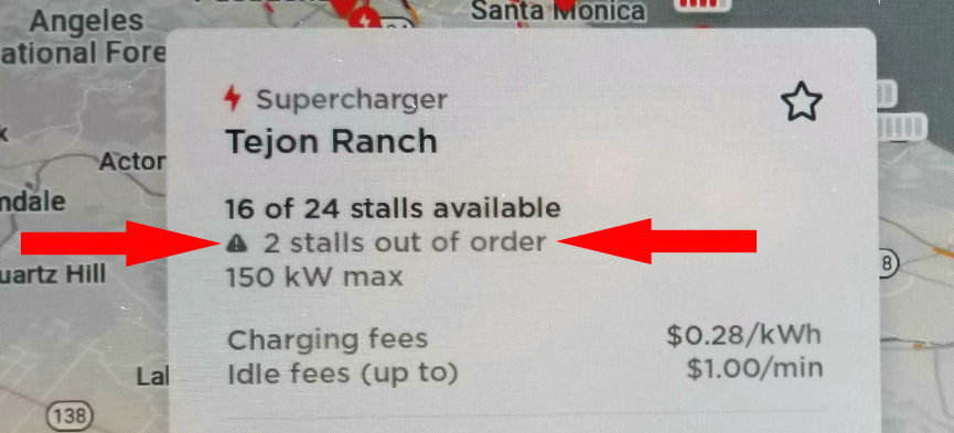 Tesla Map Shows Out of Order Supercharging Stalls with 2020.8.1 Update