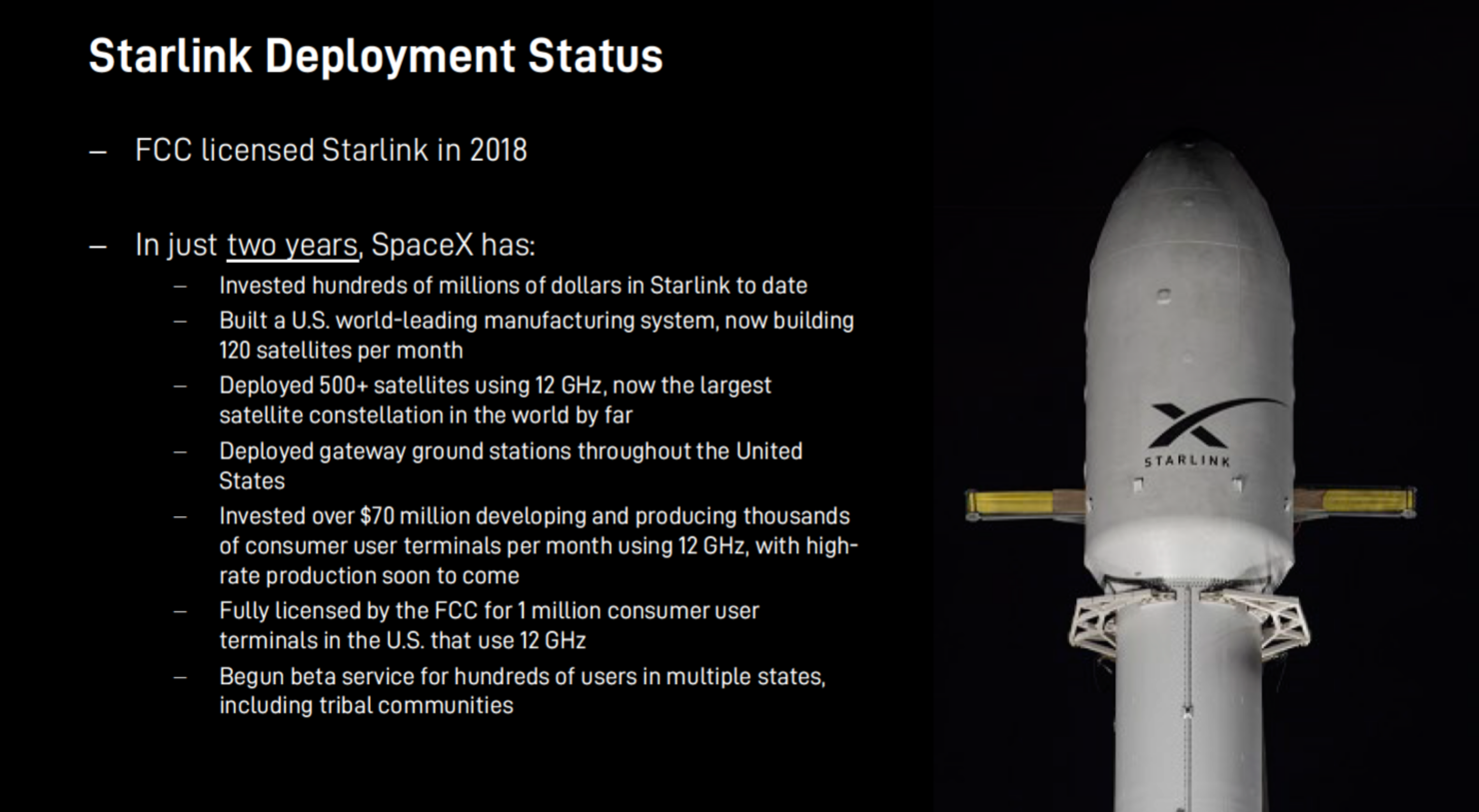 SpaceX invested over $70 million in Starlink Production