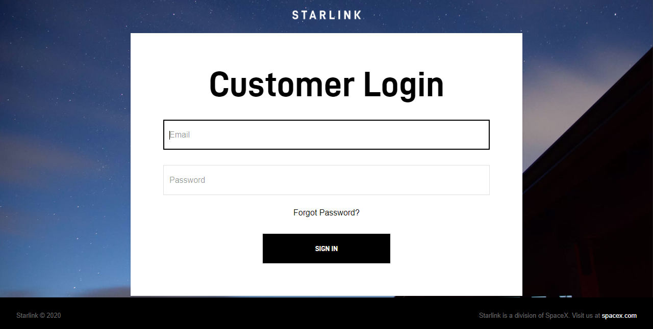 SpaceX adds 'Customer Login' page to Starlink website and requests addresses ahead of Beta test