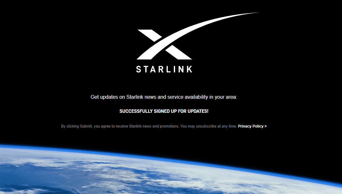 Receive updates about when SpaceX's Starlink Internet will be available in your city!