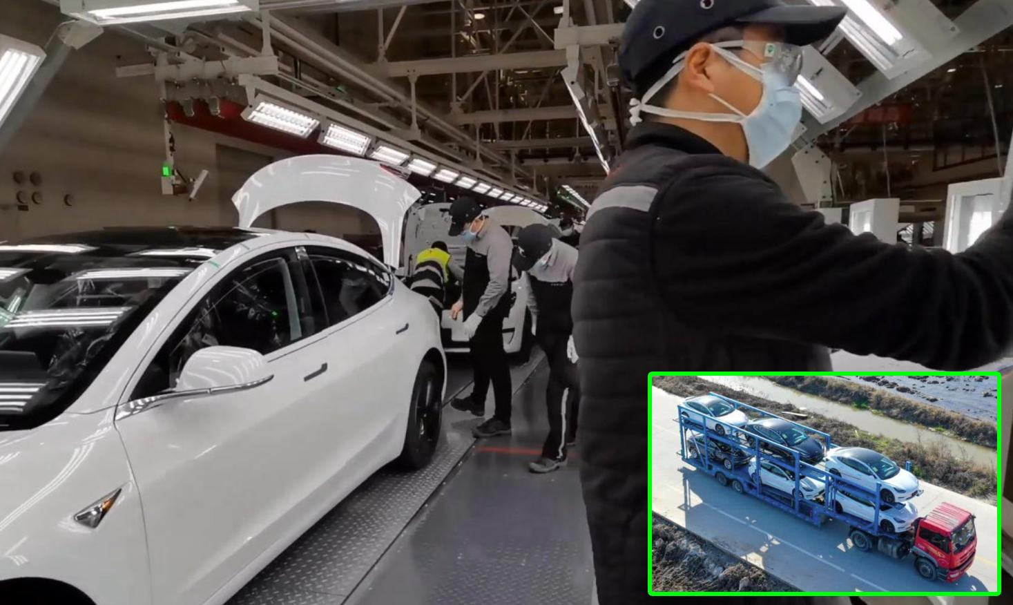 Tesla Giga 3 Shanghai Resumes Fully Production, Many China-Made Model 3 on Transport [Video]