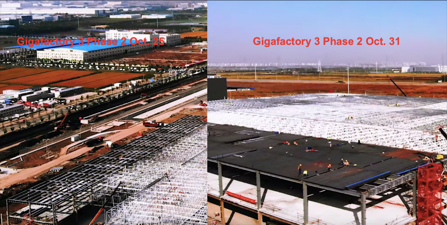 Tesla Gigafactory 3 Battery Facility Construction hits Lightning Speed