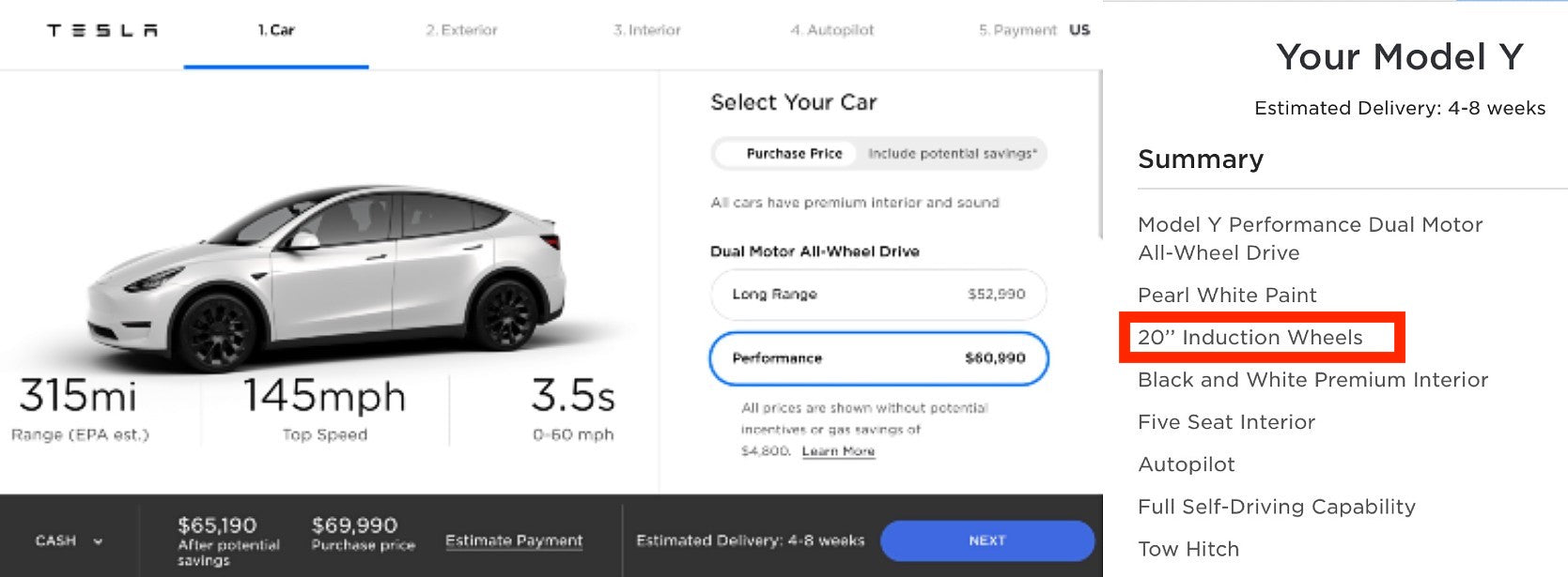 Tesla Model Y Performance With Induction Wheels Now Available & Ready To Deliver