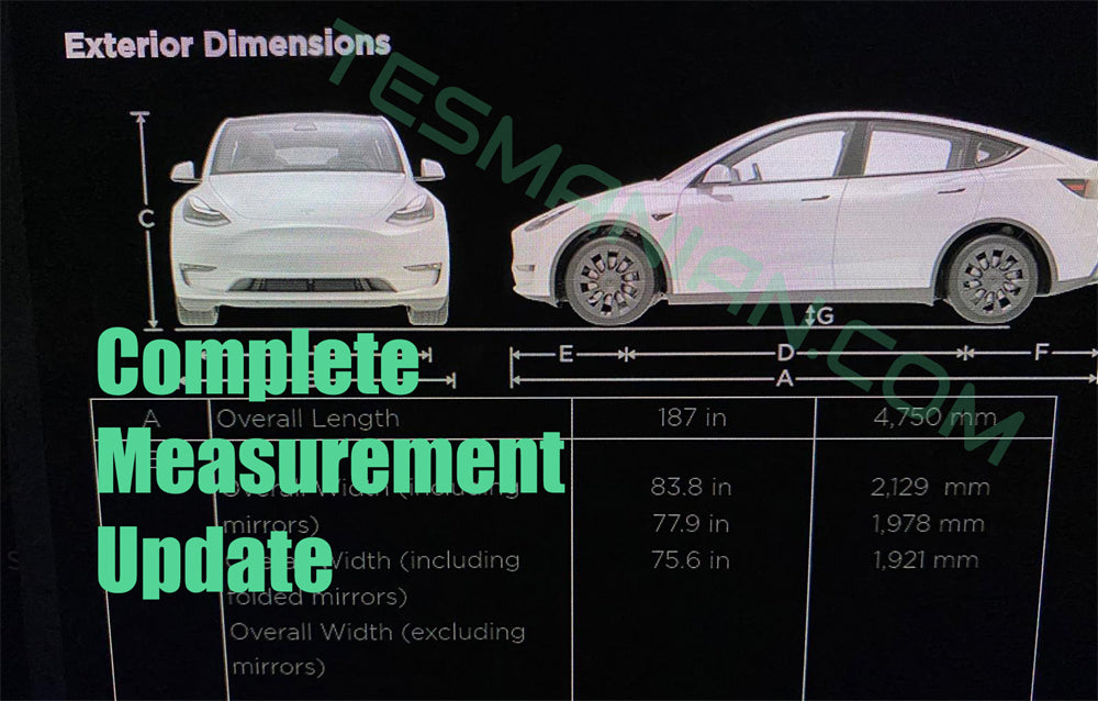 UPDATE Tesla Model Y Complete Measurement With Interior Info